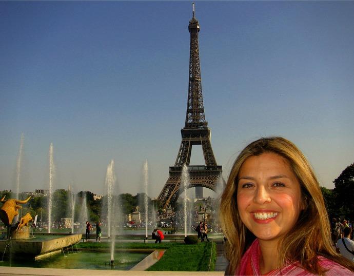 Eiffel Tower from Trocadero, Paris, France.