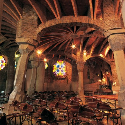 Barcelona. Colonia Güell. Interior of the Crypt. Photo: http://11870.com/pro/cripta-la-colonia-guell