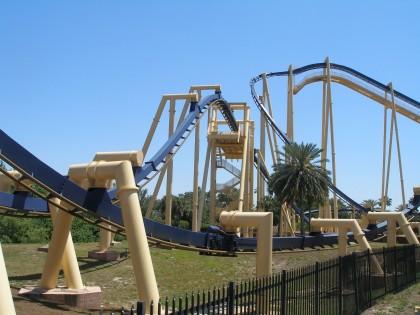 Roller coasters. Montu, Busch Gardens, Tampa, Florida.