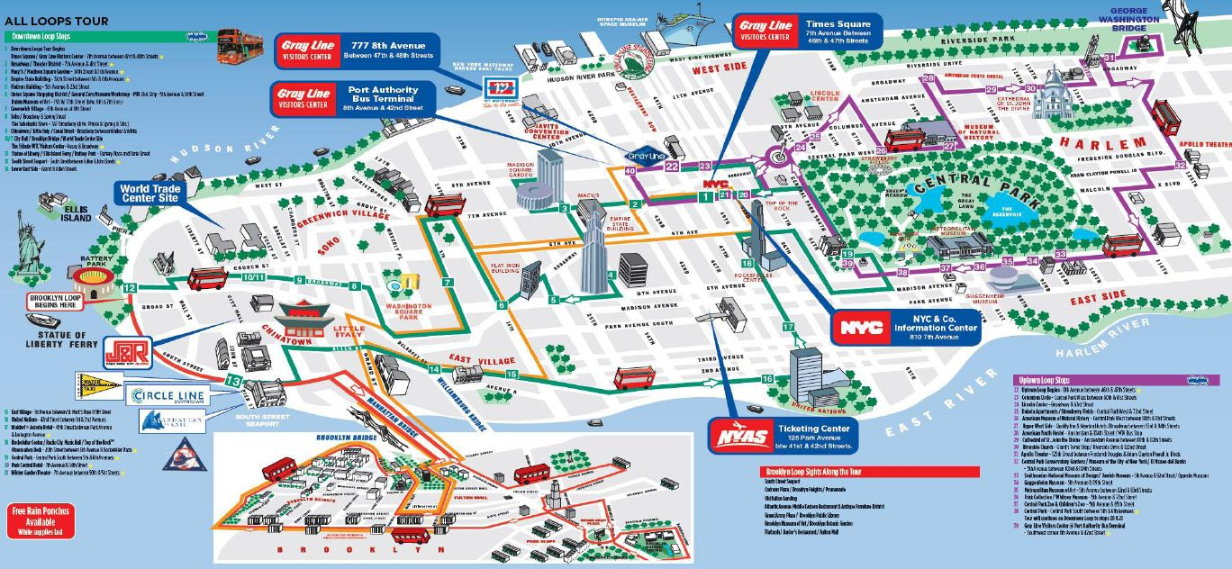 double decker all loops new york tour map. getting a sense of new york city in two days  cultural travel guide