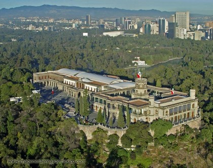 Mexico City. Aerial view of the Chapultepec Castle.