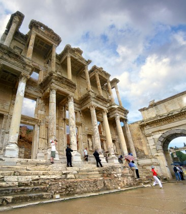 Expert led tours. Library of Celsius, Ephesus, Turkey.