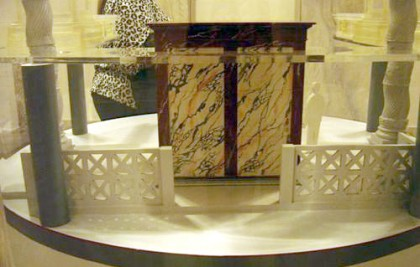 Saint Peters Basilica. Model of the marble box (back) of Constantine for the Tomb of St Peter.