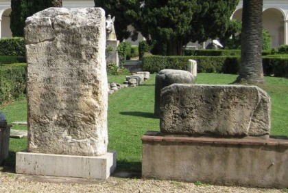 Modest markers of tombs. Diocletian Baths, Rome.