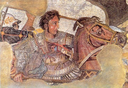 Detail of the Alexander Mosaic, representing Alexander the Great on his horse Bucephalus.
