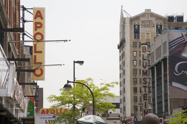 Double decker Apollo Theater, Harlem, New York.