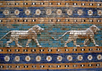 Detail of lions on the Ishtar Gate, Babylon. Photo: Josep Renalias.