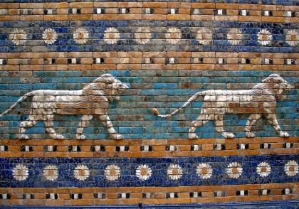 Detail of lions on the Ishtar Gate, Babylon. Photo: Josep Renalias.