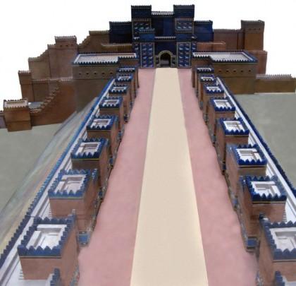 Ceremonial road leading up to the Ishtar Gate, Babylon, model. Photo: Wikipedia.