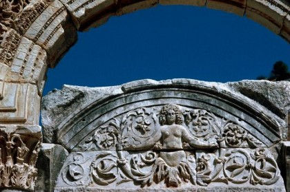 Detail of Medusa at the Temple of Hadrian. Photo: Dick Osseman.