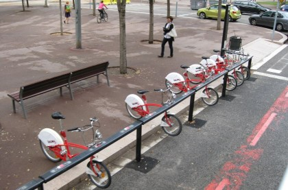 bicing bikes in Barcelona.