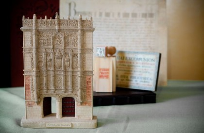 Travel souvenirs. Replica of La Puerta de Salamanca, University of Salamanca, Spain