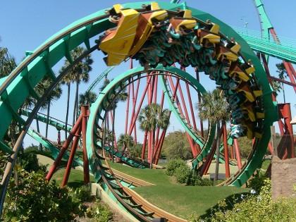 Roller coasters. Kumba, Busch Gardens, Tampa, Florida. Photo: Christopher Down.