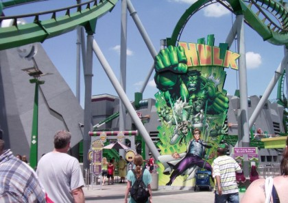 Roller coasters. The Incredible Hulk Coaster, Islands of Adventure, Universal Orlando, Florida. Photo: Wikipedia.