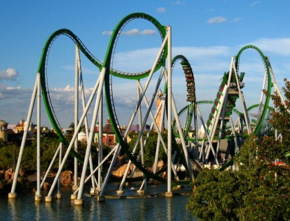 The Incredible Hulk Coaster, Islands of Adventure, Universal Orlando, Florida. Photo: Kjersti Holmang.