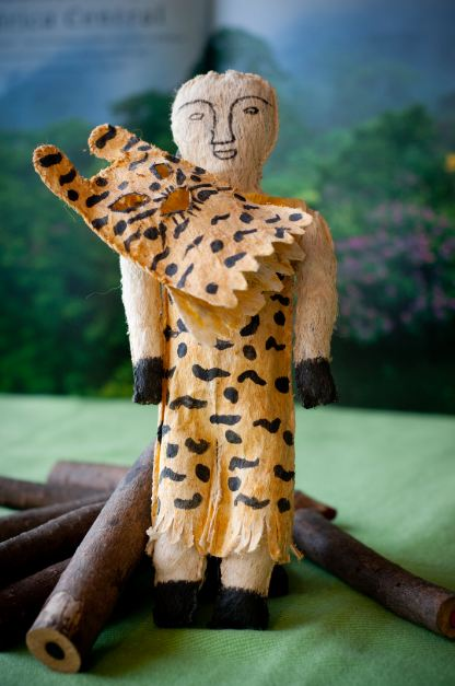 Travel souvenirs. Toy Tikuna Shaman from the Colombian/Brazilian Amazon jungle.
