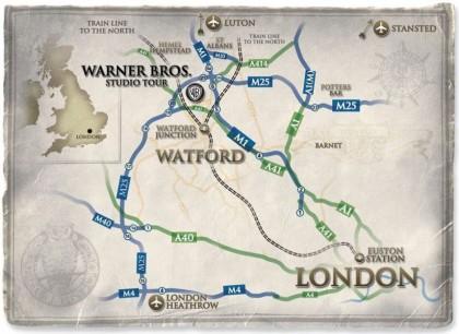 harry potter studios map