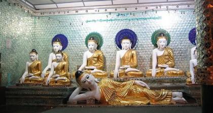 Reclining Buddha at the Shwedagon Pagoda, Myanmar. Photo: Dr. Sithu Win, Wikipedia.