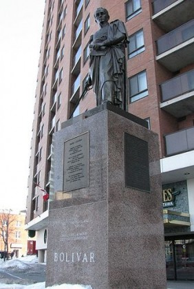 Statue of Simon Bolivar at the corner of Dalhousie and Besserer Street, Ottawa.
