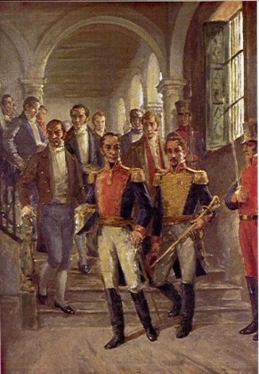 Simon Bolivar and Francisco de Paula Santander during the Congress of Cúcuta, October 1821. Painting by Ricardo Acevedo Bernal. Source: Wikipedia.
