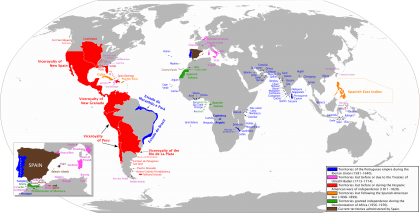 Simon Bolivar, Spanish Empire Map by Transamundo. Source: Wikipedia.