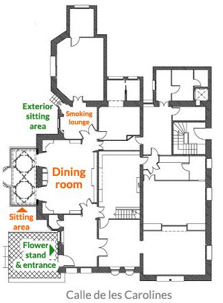 Floorplan, ground floor. Source: casavicens.es