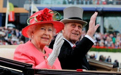 The Diamond Jubilee. Britain's Queen Elizabeth II with Prince Philip arrive by horse drawn carriage in the parade ring on the third day, traditionally known as Ladies Day, of the Royal Ascot horse race meeting at Ascot, England, Thursday, June, 16, 2011.  Photo: 2012queensdiamondjubilee.com