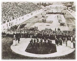 1896 opening ceremony of the first modern Olympic Games. Photo: Wikipedia.