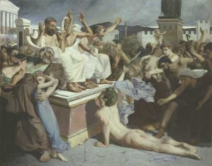 2012 Olympic Games. Painting of Pheidippides as he gave word of the Greek victory over Persia at the Battle of Marathon to the people of Athens. Luc-Olivier Merson, 1869. Photo: Wikipedia.