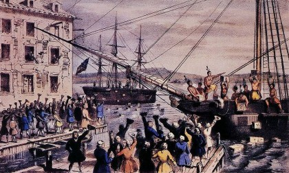 "Fourth of July. Boston Tea Party. Photo: Wikipedia. This iconic 1846 lithograph by Nathaniel Currier was entitled ""The Destruction of Tea at Boston Harbor""; the phrase ""Boston Tea Party"" had not yet become standard. Contrary to Currier's depiction, few of the men dumping the tea were actually disguised as Indians."