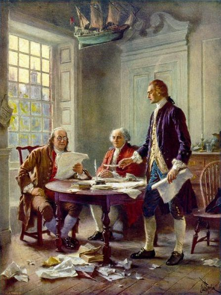 Fourth of July. Thomas Jefferson (right), Benjamin Franklin (left), and John Adams (center) meet at Jefferson's lodgings, on the corner of Seventh and High (Market) streets in Philadelphia, to review a draft of the Declaration of Independence. Photo: Wikipedia. Artist: Jean Leon Gerome Ferris (1863–1930).
