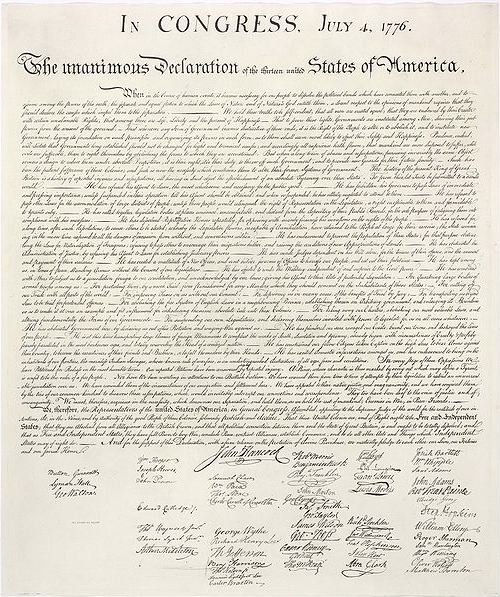 Fourth of July. United States of America Declaration of Independence. Photo: Wikipedia.