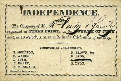 Fourth of July, a 1825 invitation to an Independence Day celebration. Photo: Wikipedia.