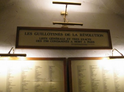French Revolution in 1789. List of the 2780 people condemmed to the guillotine.