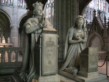 French Revolution in 1789. Funerary monument to Louis XVI and Marie Antoinette in Basilica of Saint Denis.