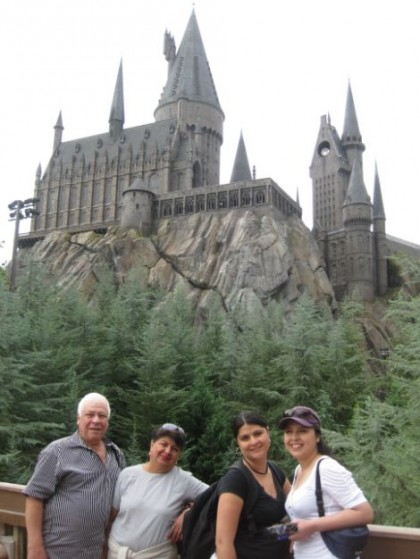 Travel partner. Me, my parents and my sister at the Wizarding World of Harry Potter at Islands of Adventure, Universal Studios, Orlando, Florida, USA.