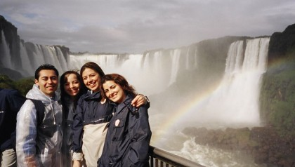 Travel partner. Me and my friends Lina, Martha and Giovanni in Iguazu Falls, Brazil.