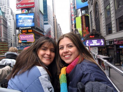 Travel partner. Me and my sister Catalina, in Times Square, New York.