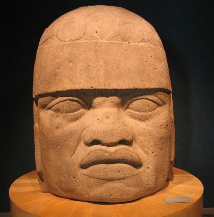 Mexico City. Olmeca head. National Museum of Anthropology. Photo: Wikipedia, Luidger 29.