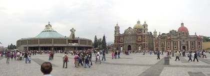 Panoramic view of Basilica of Our Lady of Guadalupe, Ancient Basilica, Capuchin nuns' Temple and Plaza Mariana. Mexico City.