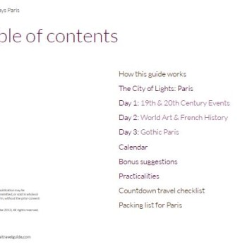Paris Itinerary 3 Days Table of Contents