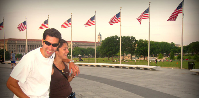Travel with your spouse. Couple strolling through Washington