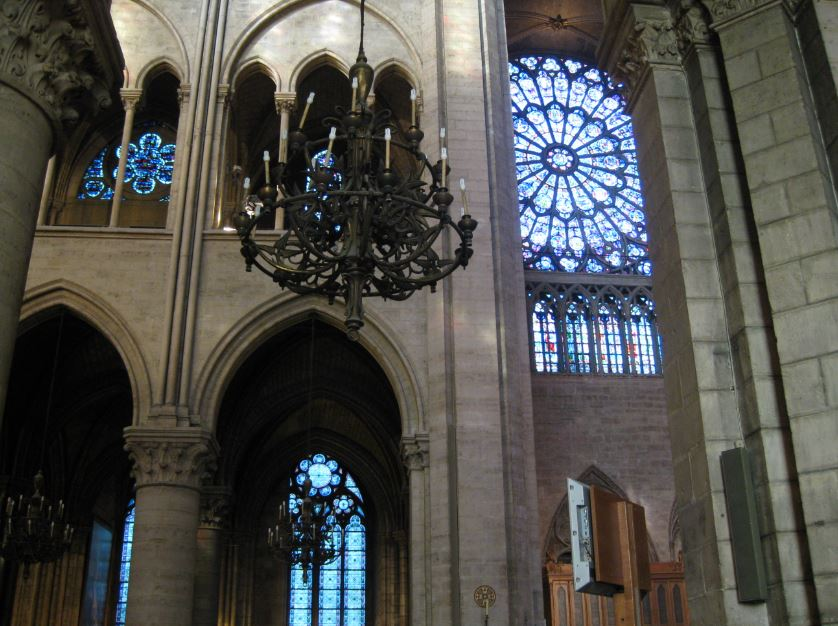 Gothic Cathedral Pointed Arches And Rosette In Notre Dame Paris