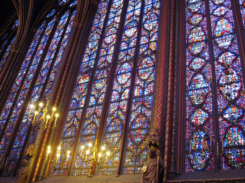 Gothic Cathedral Stained Glass Windows In Sainte Chappelle Paris